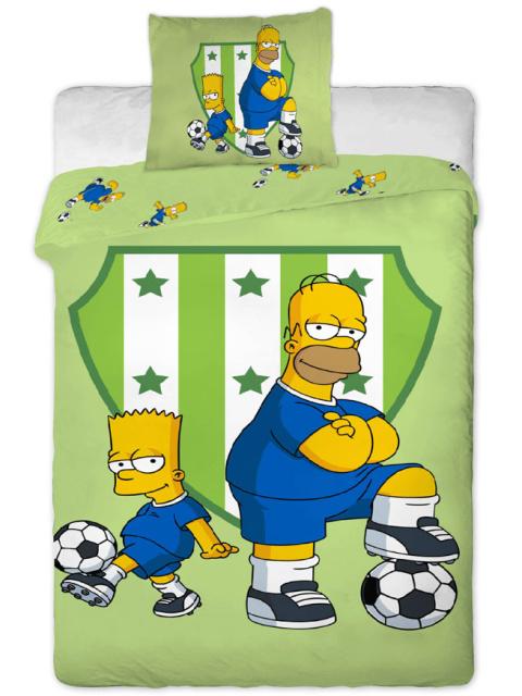 Jerry Fabrics Povlečení Bart a Homer fotbal bavlna 140x200 + 70x90 cm