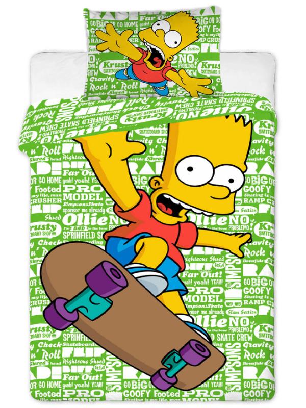Jerry Fabrics Povlečení Bart Simpson green 2016 bavlna 140x200 + 70x90 cm