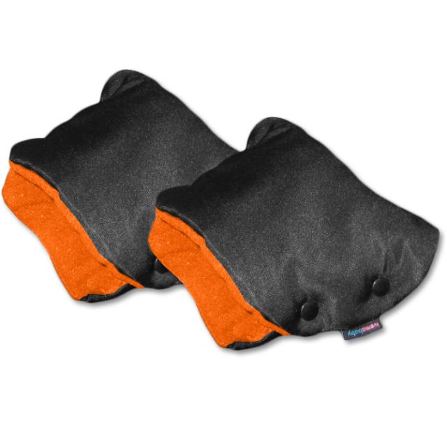 IvemaBaby Rukávník na kočárek dělený černá / oranžová