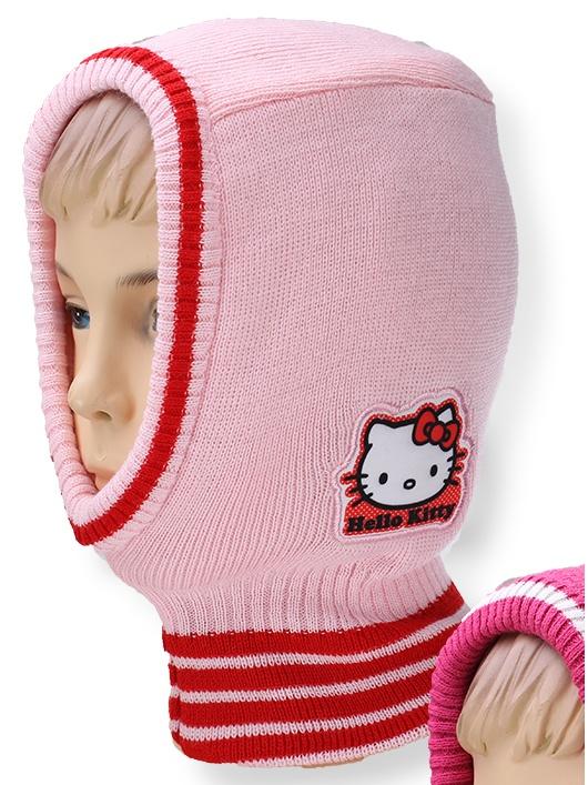 Dětská dívčí čepice - kukla Setino 770-911 Hello Kitty světle růžová