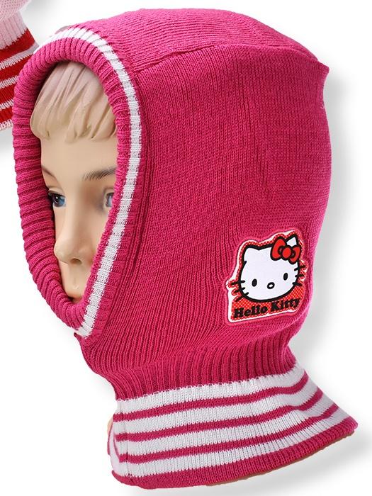 Dětská dívčí čepice - kukla Setino 770-911 Hello Kitty tmavě růžová