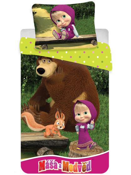 Jerry Fabrics Dětské povlečení Máša a medvěd bavlna 140x200 + 70x90 cm