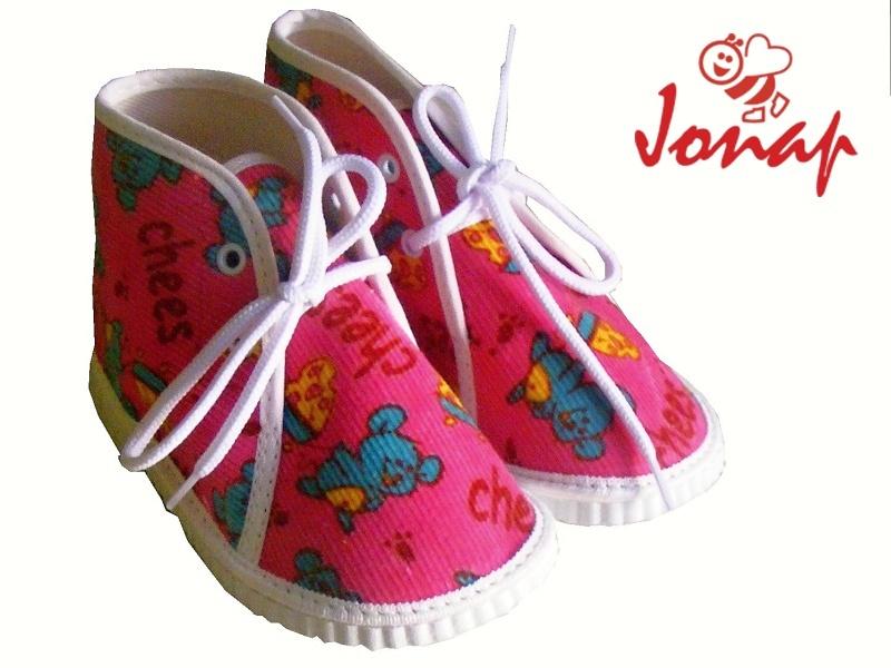 Dětské kotníkové šněrovací bačkory Jonap 004 růžové myšky, vel. 18,5