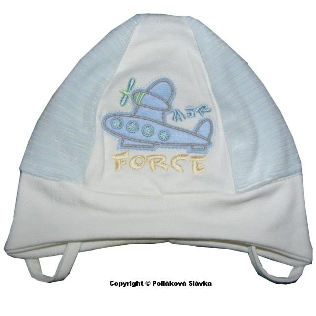 Dětská chlapecká čepice Fido Plane béžová, vel. 38-40 cm