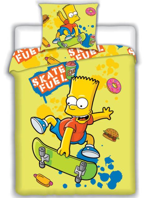 Jerry Fabrics Povlečení Bart Simpson skate žlutá bavlna 140x200 + 70x90 cm