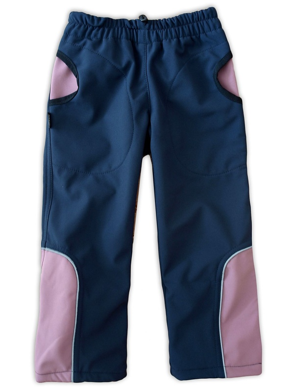 Dětské softshellové kalhoty Jožánek tm. modré/růžové, vel. 128
