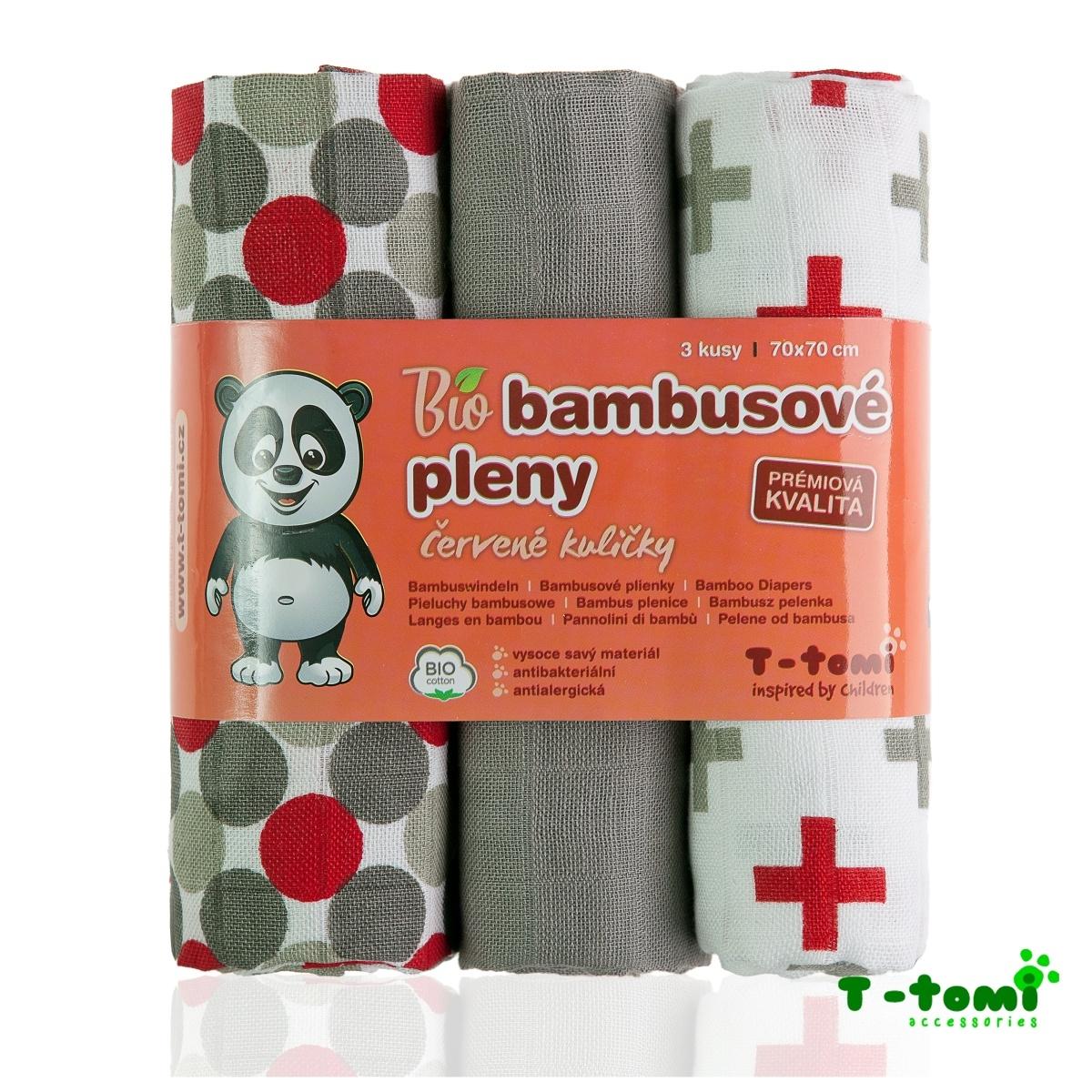T-tomi BIO Bambusové pleny 3ks, červené kuličky