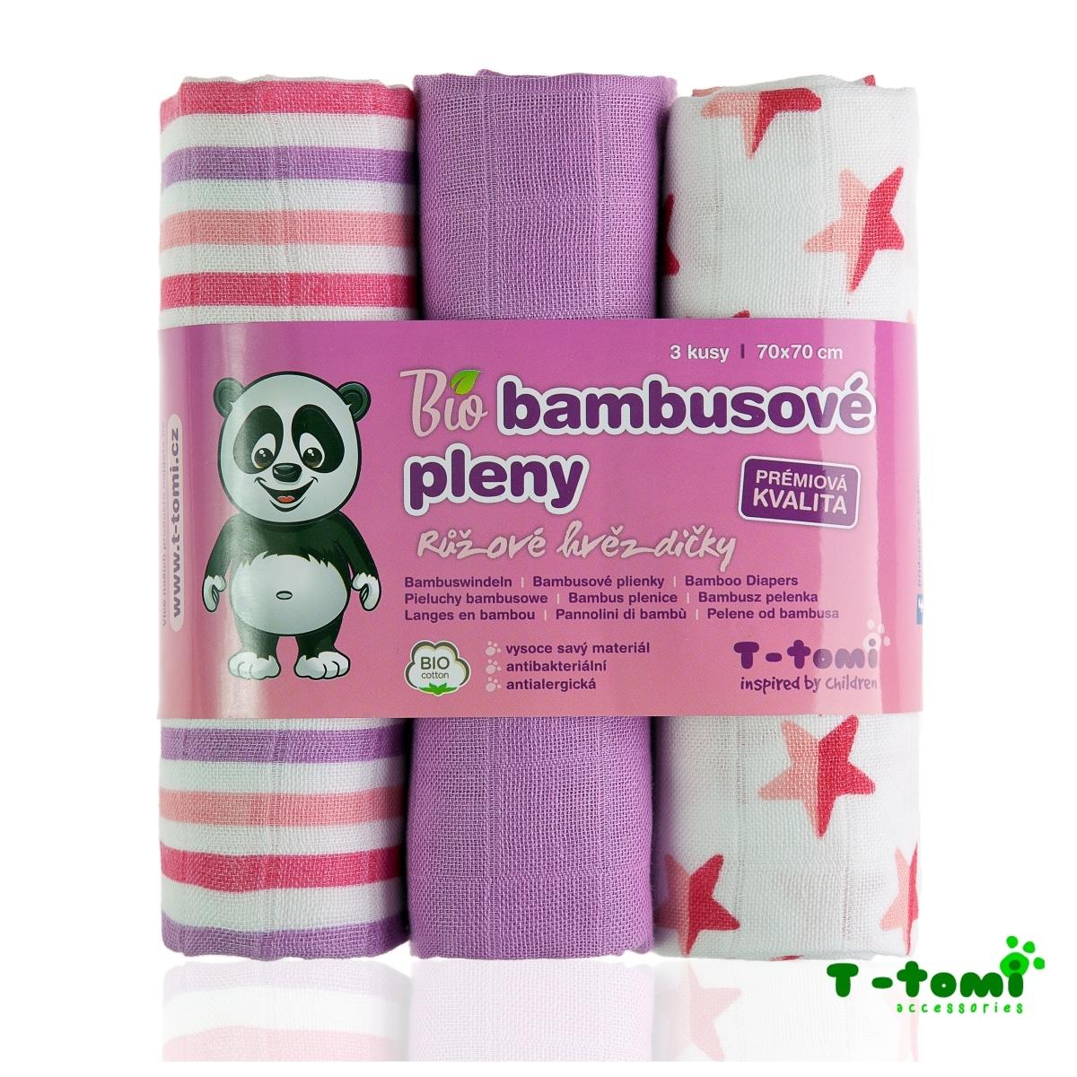 T-tomi BIO Bambusové pleny 3ks, růžové hvězdičky