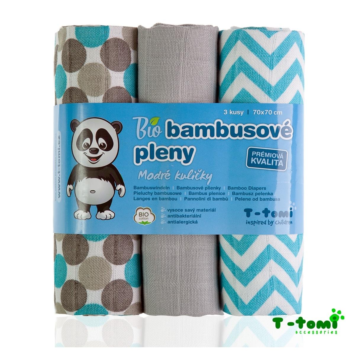 T-tomi BIO Bambusové pleny 3ks, modré kuličky