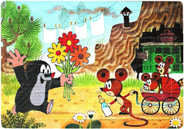 HM Studio Pěnové Puzzle Krtek a Myška 24 dílků