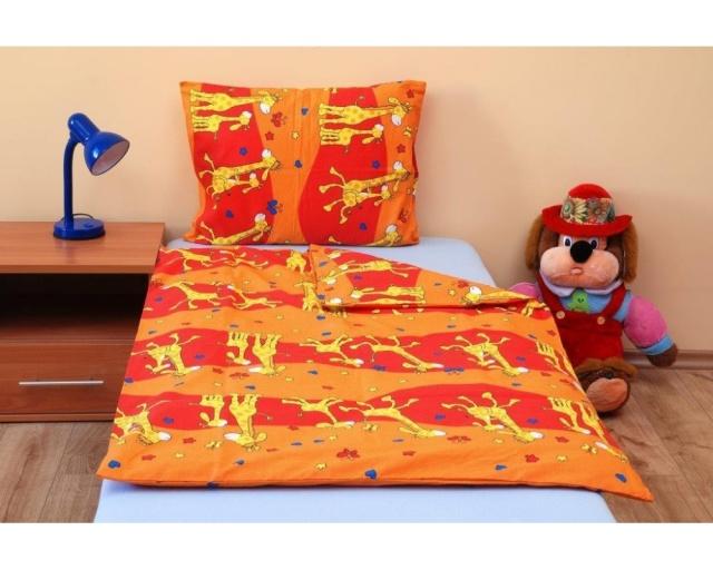 Brotex Písek Povlečení do postýlky Žirafa oranžová bavlna 90x135 cm