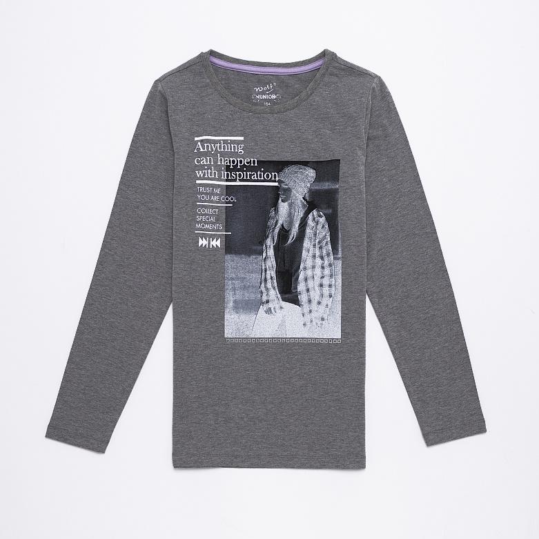 Dětské dívčí triko s dlouhým rukávem Wolf S2643 Šedé, vel. 146