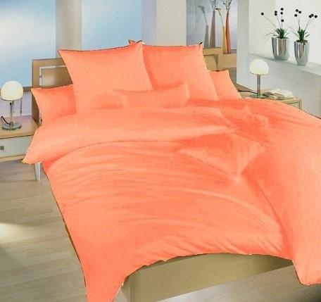 Brotex Povlečení francouzské krep UNI 240x220 +70x90 oranžové; nitěný knoflík