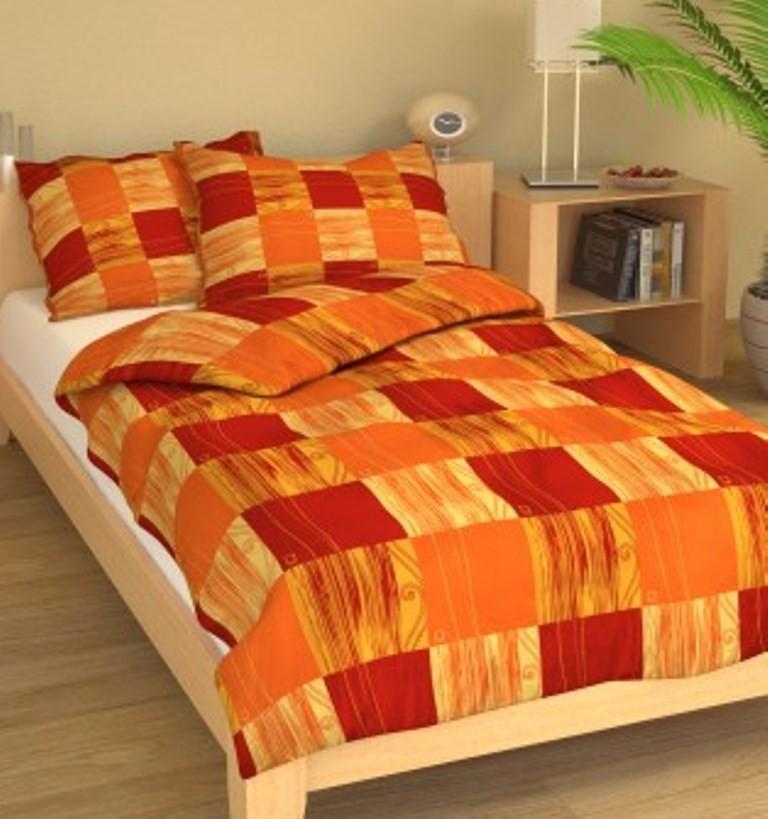 Brotex Povlečení francouzské krep 240x220 +70x90 Čtverečky oranžové; nitěný knoflík