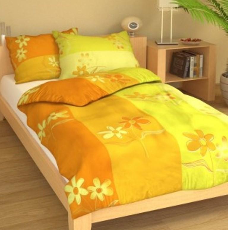 Brotex Prodloužené povlečení bavlna 140x220 + 70x90 Kopretiny žluté; nitěný knoflík