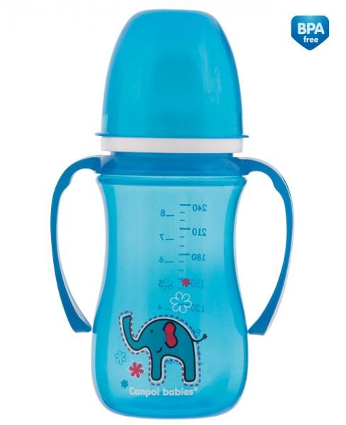 Canpol Babies 35/208 Hrníček nevylévací se širokým hrdlem Colourful Animals 240 ml modrý