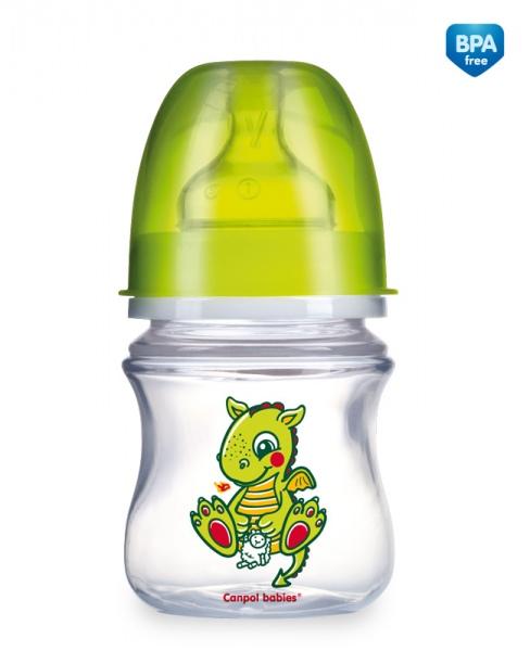 Canpol Babies 35/100 Láhev se širokým hrdlem EasyStart Fairy Tale 120ml zelená