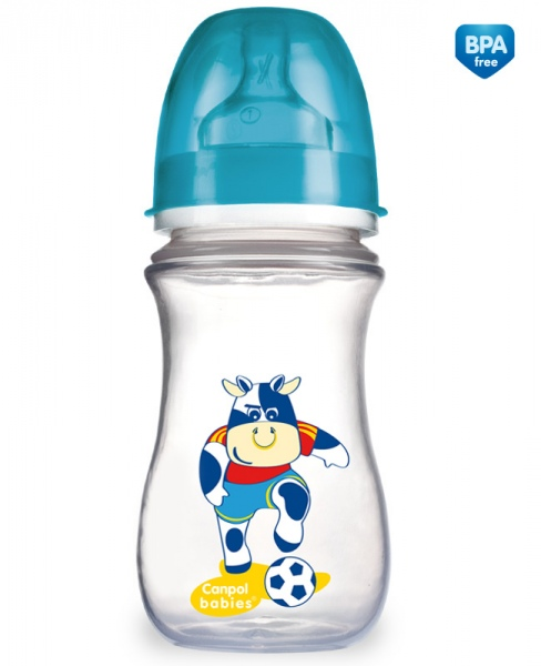 Canpol Babies 35/104 Láhev se širokým hrdlem EasyStart Fotbal 240ml modrá