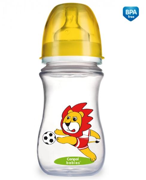 Canpol Babies 35/104 Láhev se širokým hrdlem EasyStart Fotbal 240ml žlutá