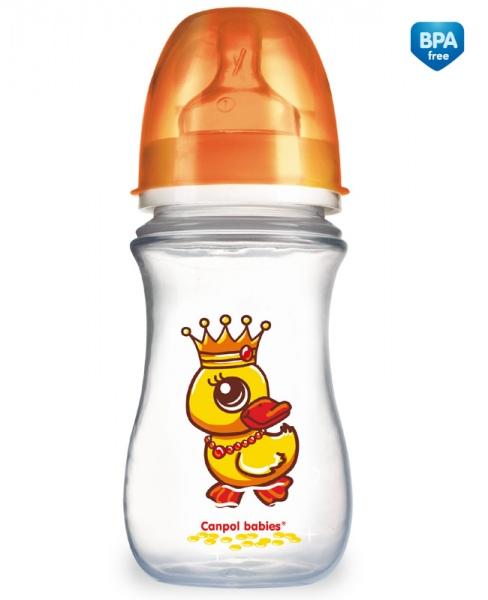 Canpol Babies 35/104 Láhev se širokým hrdlem EasyStart Fairy Tale 240ml oranžová