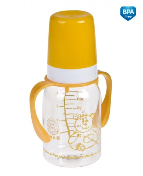 Canpol Babies 11/821 Láhev s jednobarevným potiskem a úchyty 120ml bez BPA žlutá