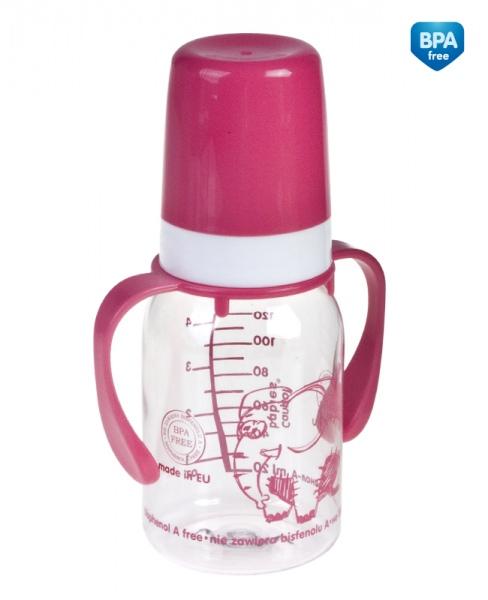 Canpol Babies 11/821 Láhev s jednobarevným potiskem a úchyty 120ml bez BPA růžová