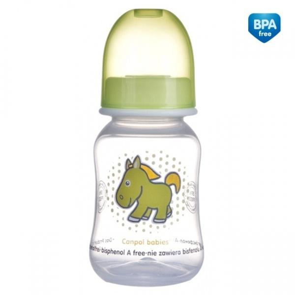 Canpol Babies 59/100 Láhev s potiskem TRANSPARENT 120ml bez BPA zelená