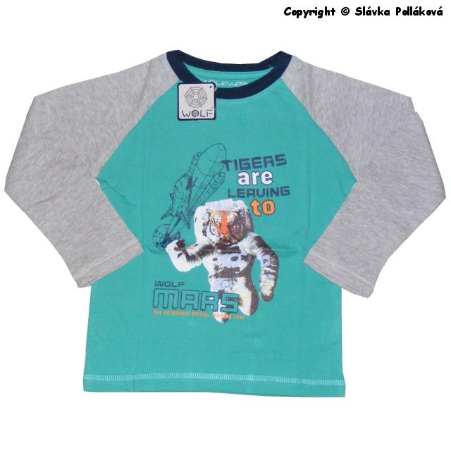 Dětské chlapecké triko dlouhý rukáv Wolf S2533 Zelené, vel. 104