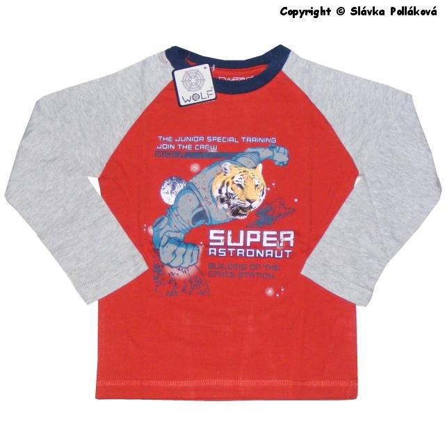 Dětské chlapecké triko dlouhý rukáv Wolf S2533 Červené, vel. 128