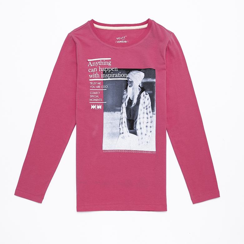 Dětské dívčí triko s dlouhým rukávem Wolf S2643 Růžové, vel. 146
