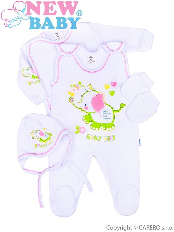 4-dílná kojenecká soupravička New Baby Sloník bílo-růžová, vel. 56 56