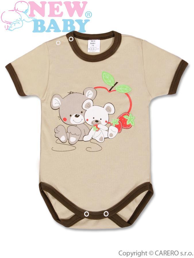 Dětské body s krátkým rukávem New Baby Myšky s jahůdkou hnědé, vel. 92