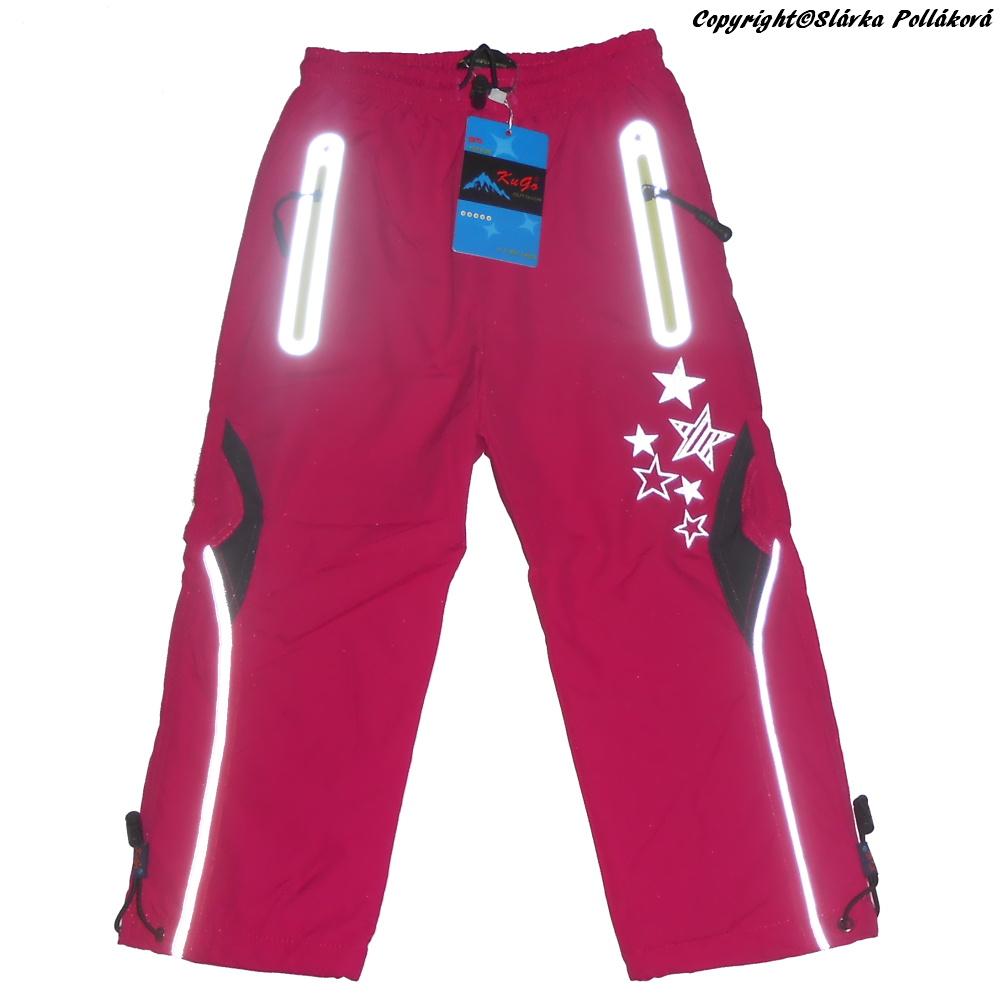 Dětské dívčí zateplené šusťákové kalhoty Kugo H207 růžová 110