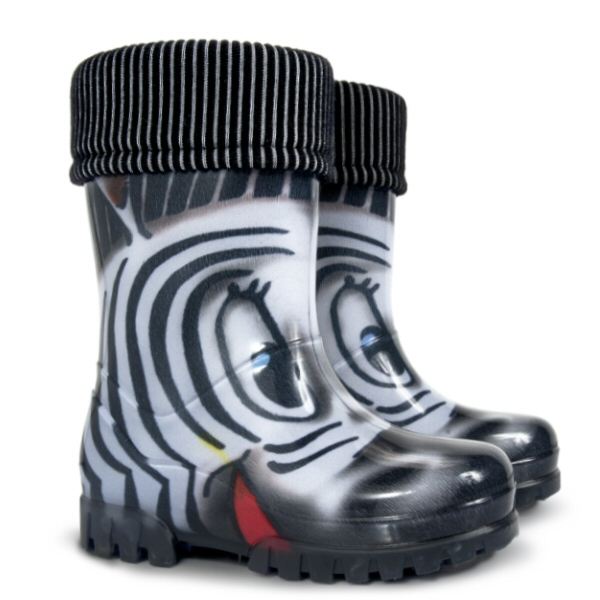 Dětské zateplené holinky Demar Twister Lux Print S Zebra