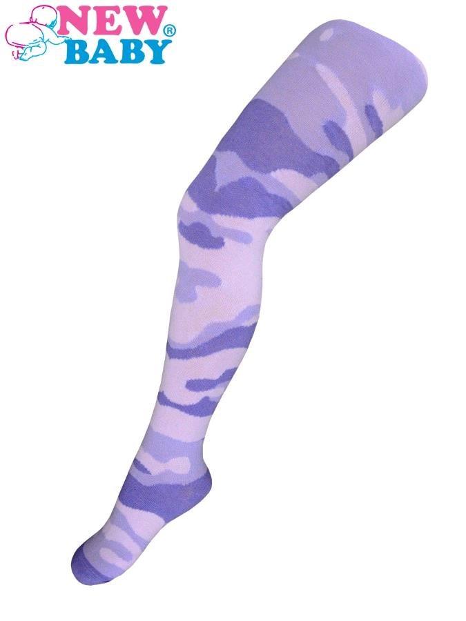 Bavlněné punčocháčky New Baby s maskáčovým vzorem světlo růžovo-fialové 104/110