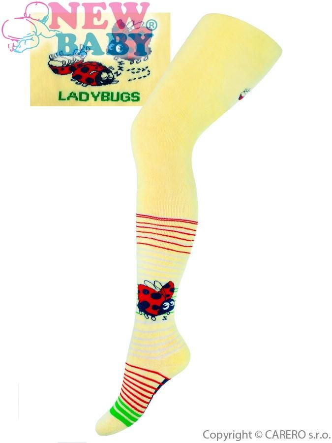 Froté punčocháčky New Baby žluté s beruškou 104/110