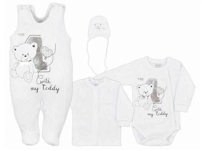 4-dílná kojenecká souprava v Eko krabičce Bobas Fashion Teddy bílá, vel. 50 50