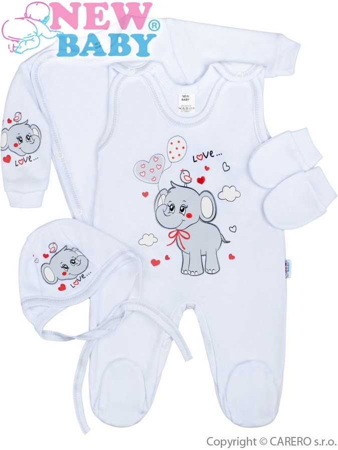 4-dílná kojenecká soupravička New Baby Sloník bílo-šedá, vel. 50 50