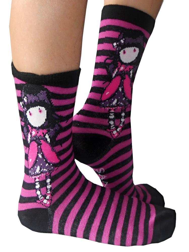 Dětské dívčí ponožky Setino 881-220 Santoro London Gorjuss černé 27-30